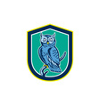 Great horned owl on branch shield retro vector