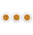 Three cups of tea with tea-leaf stilyzed as t e a vector