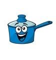Laughing happy blue cartoon cooking saucepan vector
