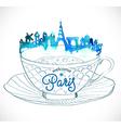 Paris skyline watercolor background vector