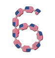 Number 6 made of usa flags in form of candies vector