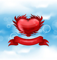 Red heart on blue sky for valentines day vector