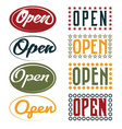 Open sign retro collection vector