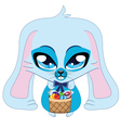 Blue easter bunny vector