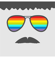 Glasses with rainbow lenses mustaches and hair vector