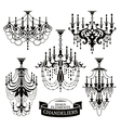 Set of chandelier silhouettes vector