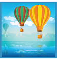Air balloons over water vector