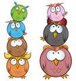 Funny owl cartoon group vector