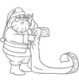 Santa claus reads from christmas list coloring vector