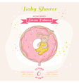Baby bunny on a donut - baby shower card vector