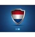 Netherlands shield on the blue background vector