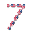 Number 7 made of usa flags in form of candies vector