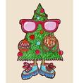 Original marker drawing of animated christmas tree vector