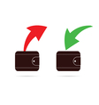 Wallet with red and green arrow vector