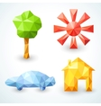 House car tree and sun icons set vector