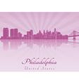 Philadelphia skyline in purple radiant orchid vector