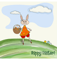 Easter greeting card with funny doe vector