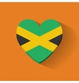 Heart-shaped icon with flag of jamaica vector
