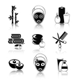 Black and white spa icons set vector