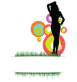 Beauty girl on the grass photo two vector