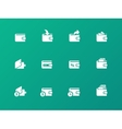 Wallet icons on green background vector