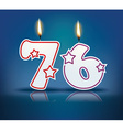 Birthday candle number 76 vector