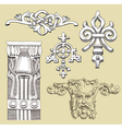 Reliefs of the 19th century kiev buildings vector