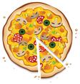 Italian pizza with a slice vector
