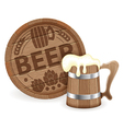 Barrel of beer and wooden mug vector