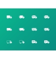Delivery trucks icons on green background vector