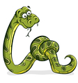 Green snake cartoon tied up in a knot vector