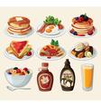 Classic breakfast cartoon set vector