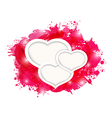 Valentines day grunge card with beautiful hearts vector