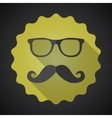 Glasses with mustuches flat icon with long shadow vector