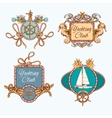 Yachting sketch emblems set vector