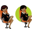 Cute young african american office woman on chair vector