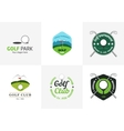 Set of vintage color golf championship logos vector