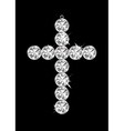 Silver diamond cross vector