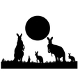 Silhouette of the kangaroo family vector