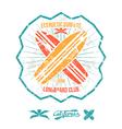 Longboard surfing retro emblem vector