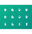 Set of coffee cup on green background icons vector