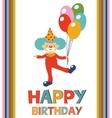 Birthday card with clown vector
