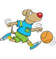 Cartoon dog playing basketball vector