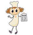 A chef holding a paper with a menu vector