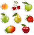 Set of flat fruit stickers with paper clips vector