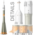 Hidetailed space rocket vector