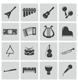 Black music instruments icons set vector