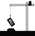 Bill icon with crane construction vector