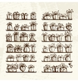 Gift boxes on shelves sketch drawing for your vector