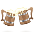 Two wooden mugs with beer vector